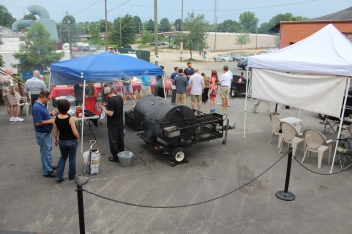 The NoDa Brewing parking lot, turned into smoker's alley for the day