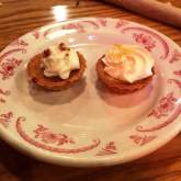 Duo of mini pies, sweet potato and lemon meringue