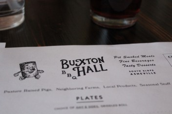 Buxton Hall menu