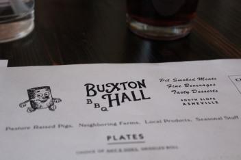 Buxton Hall menu