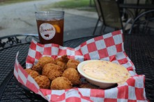 Hush puppy basket with pimento cheese